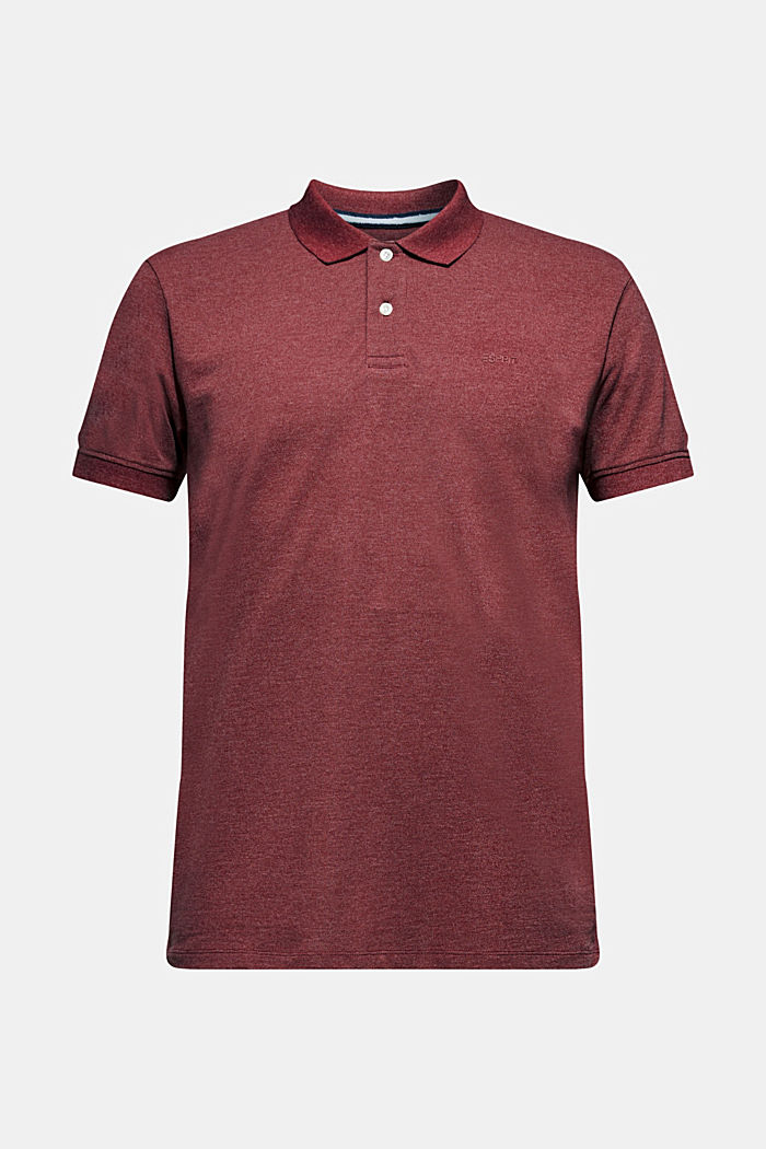 Piqué polo shirt in blended cotton, BORDEAUX RED, detail image number 0