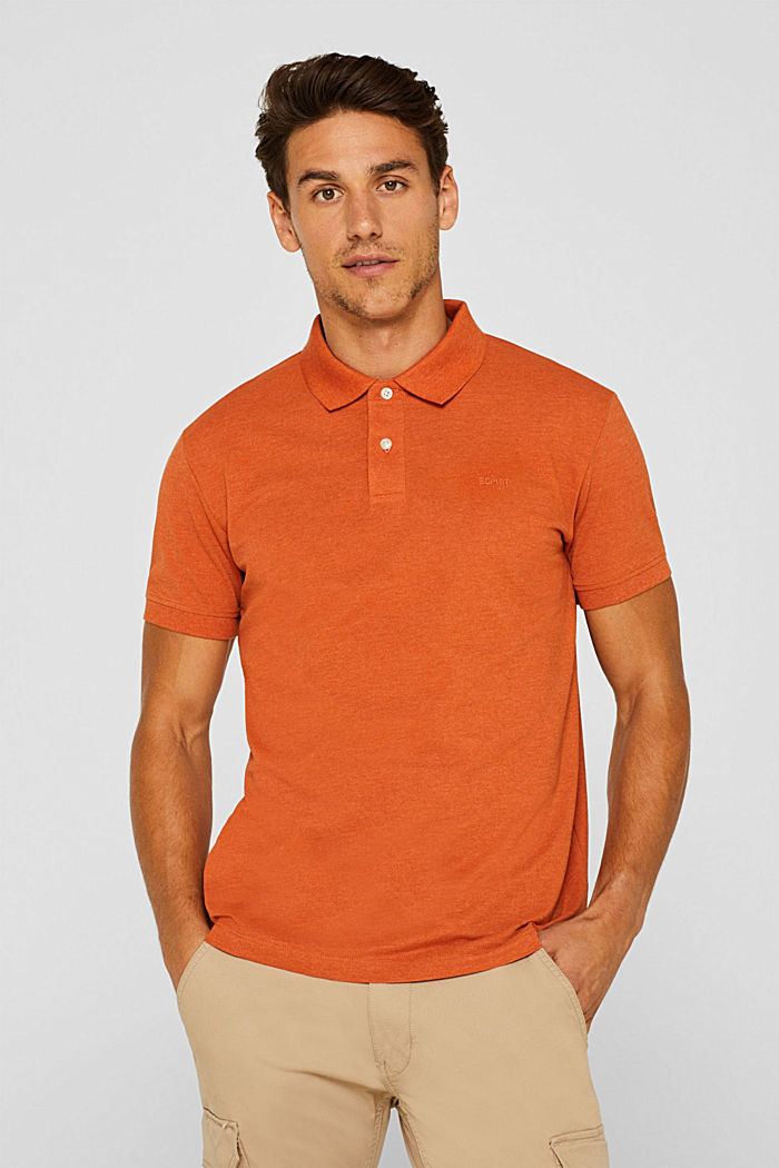 Piqué polo shirt in blended cotton, BURNT ORANGE, detail image number 0