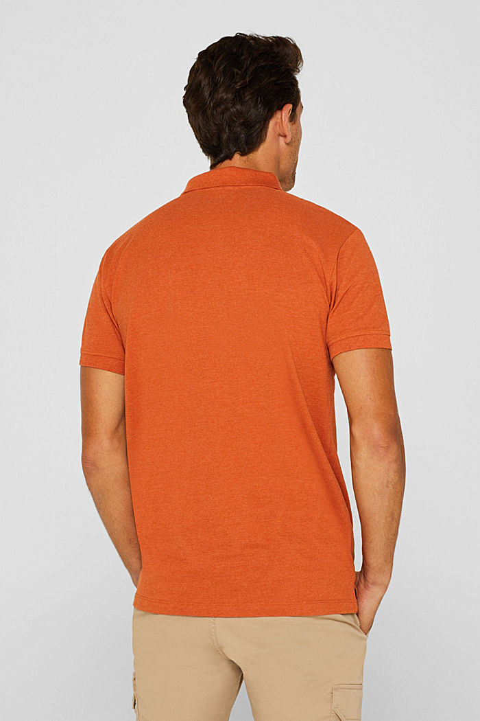 Piqué polo shirt in blended cotton, BURNT ORANGE, detail image number 3