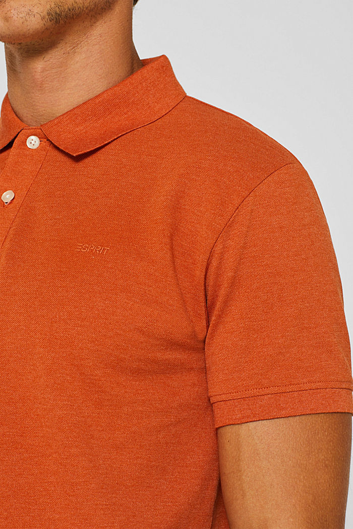 Piqué polo shirt in blended cotton, BURNT ORANGE, detail image number 1