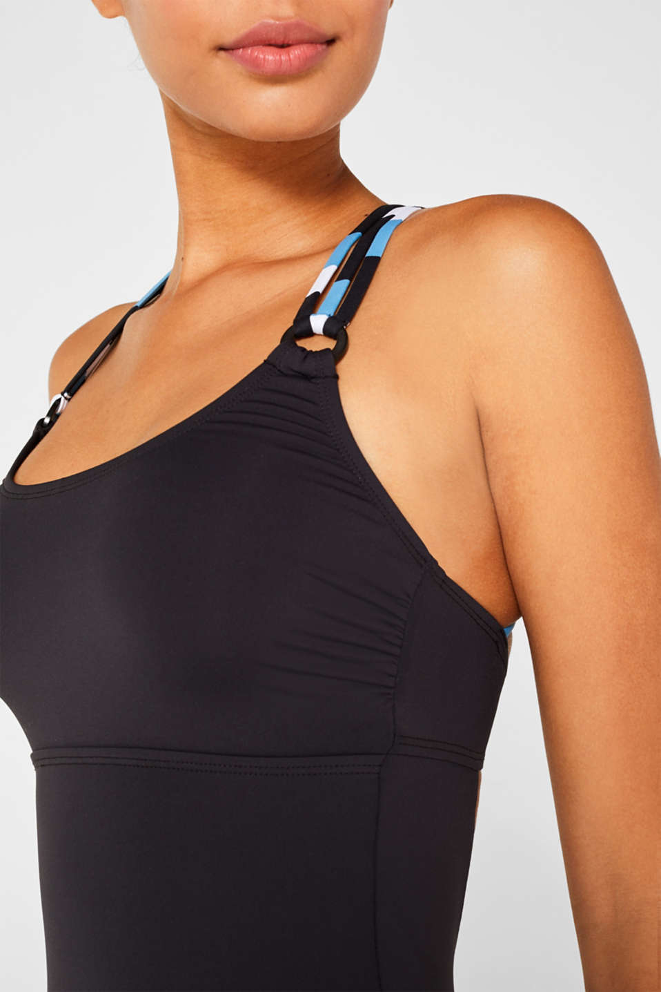 Swimsuit with striped straps, BLACK, detail image number 2