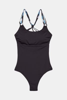Swimsuit with striped straps, BLACK, detail