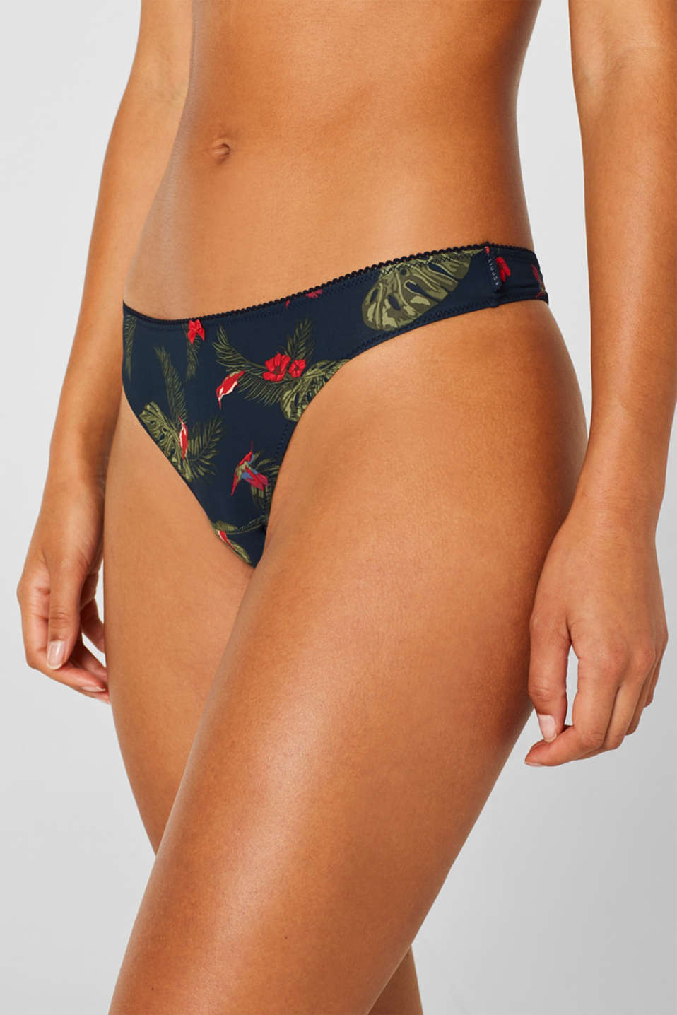 Hipster thong with a tropical print, NAVY, detail image number 1