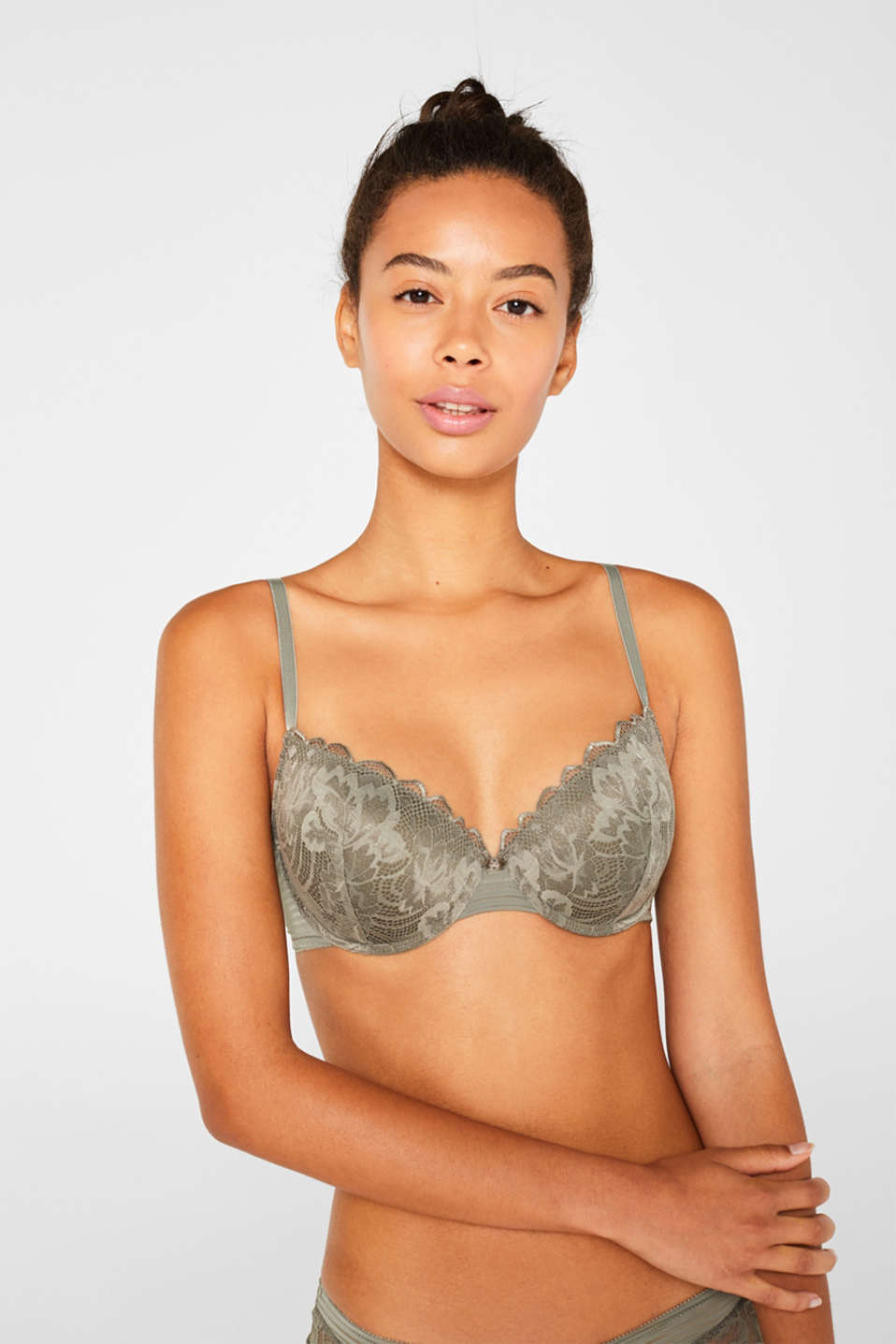 Esprit - Padded underwire bra with stripes and lace