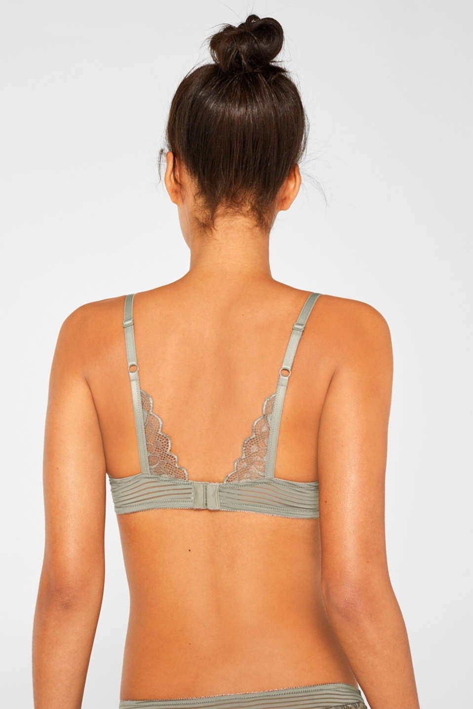 Padded underwire bra with stripes and lace, OLIVE, detail image number 1