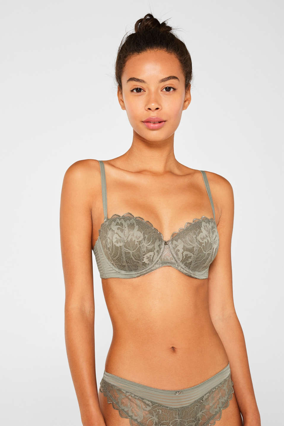 Padded underwire bra with detachable straps, OLIVE, detail image number 0