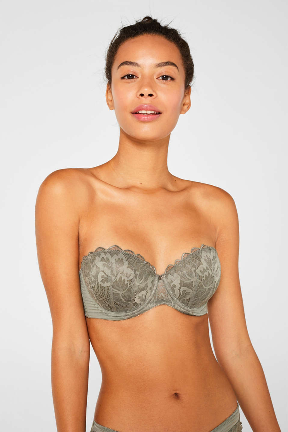 Padded underwire bra with detachable straps, OLIVE, detail image number 3