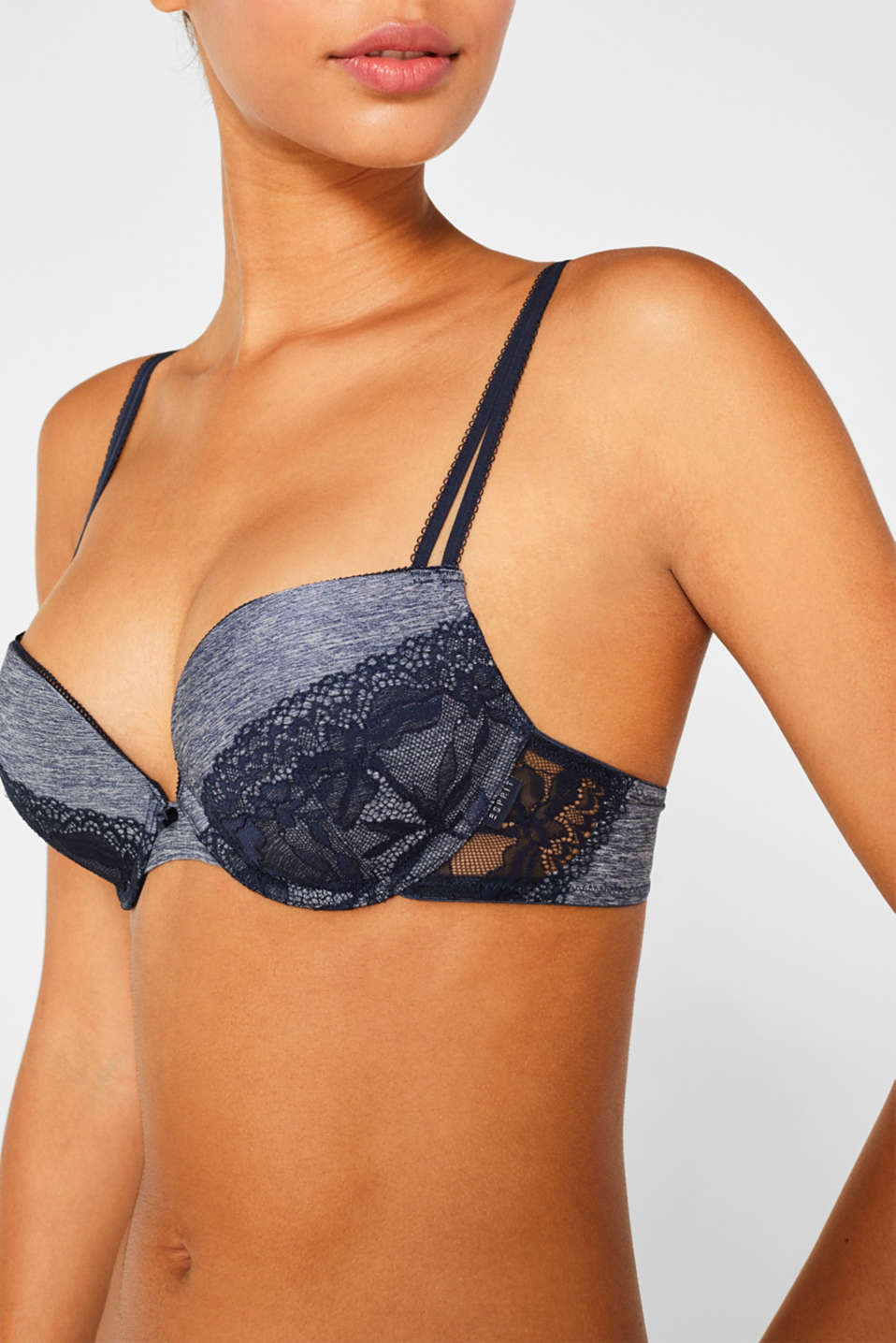 Push-up bra made of melange jersey and lace, NAVY, detail image number 2