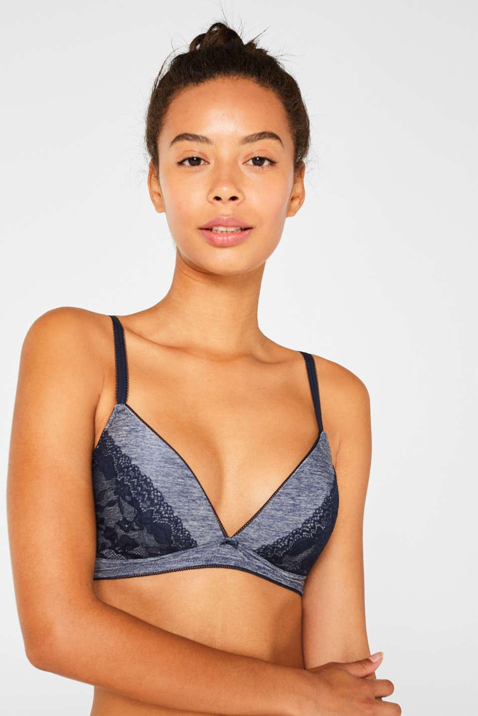 Esprit - Padded soft bra in jersey and lace