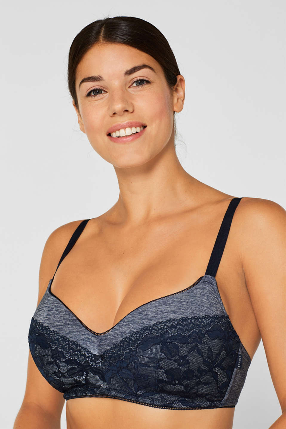 Padded bra in a mix of materials, for larger cup sizes, NAVY, detail image number 2