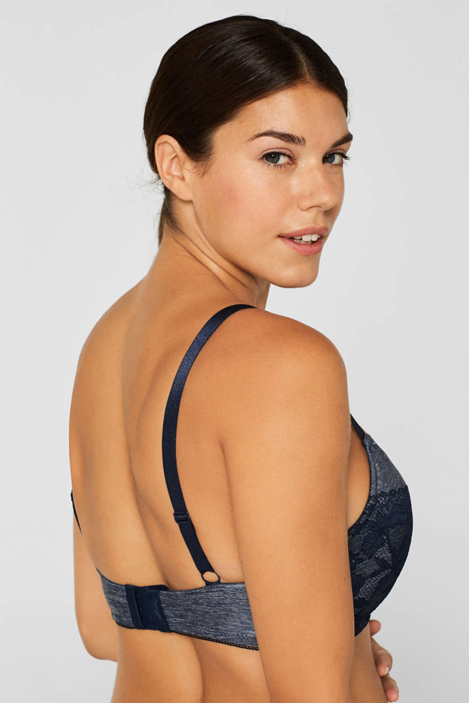 Padded bra in a mix of materials, for larger cup sizes, NAVY, detail image number 3