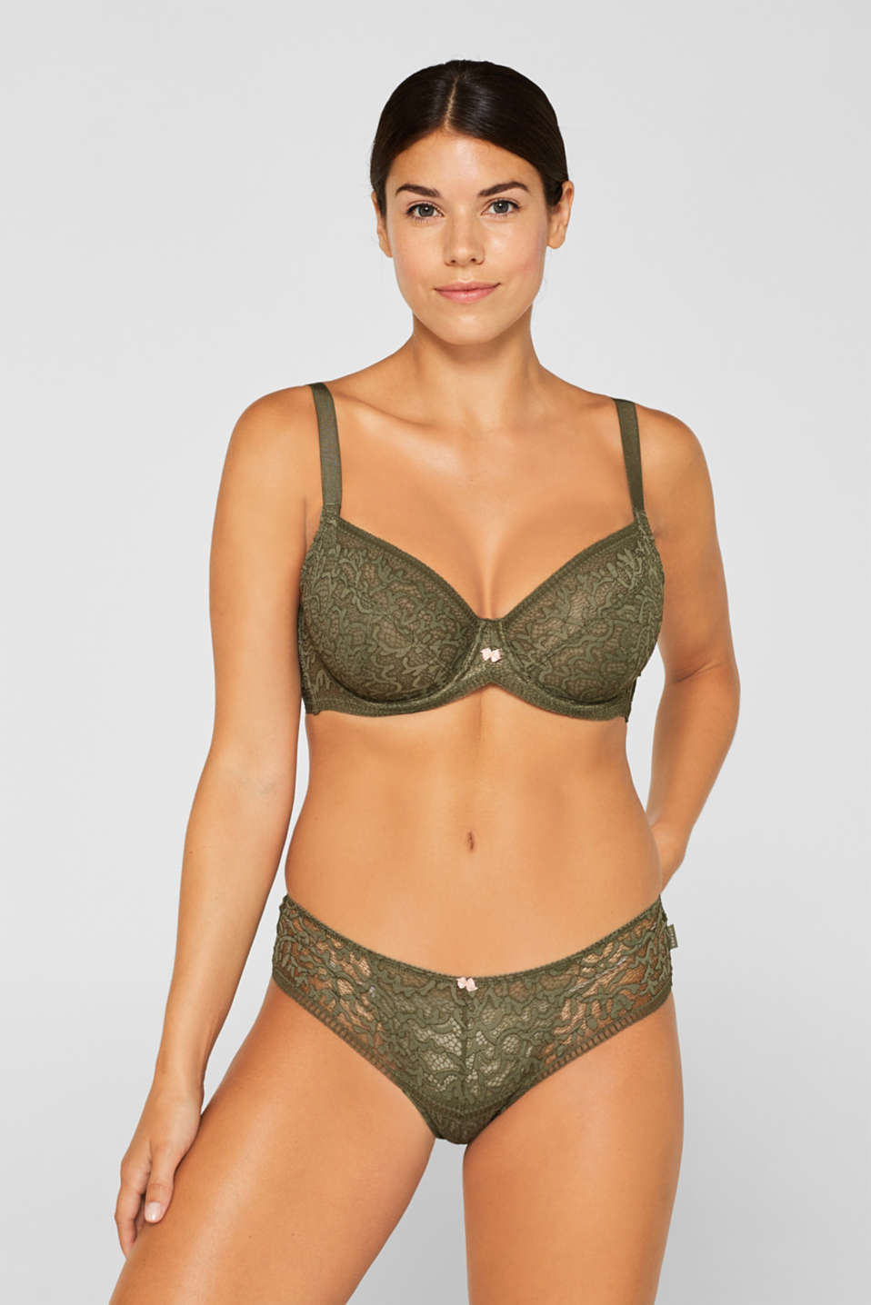 Unpadded underwire bra in lace, made especially for larger cup sizes, OLIVE, detail image number 0