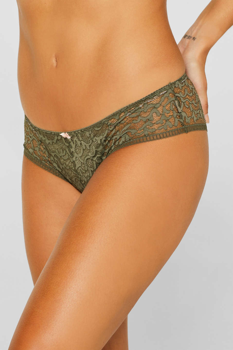 Brazilian hipster shorts in geometric lace, OLIVE, detail image number 1