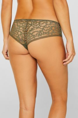 Brazilian hipster shorts in geometric lace, OLIVE, detail