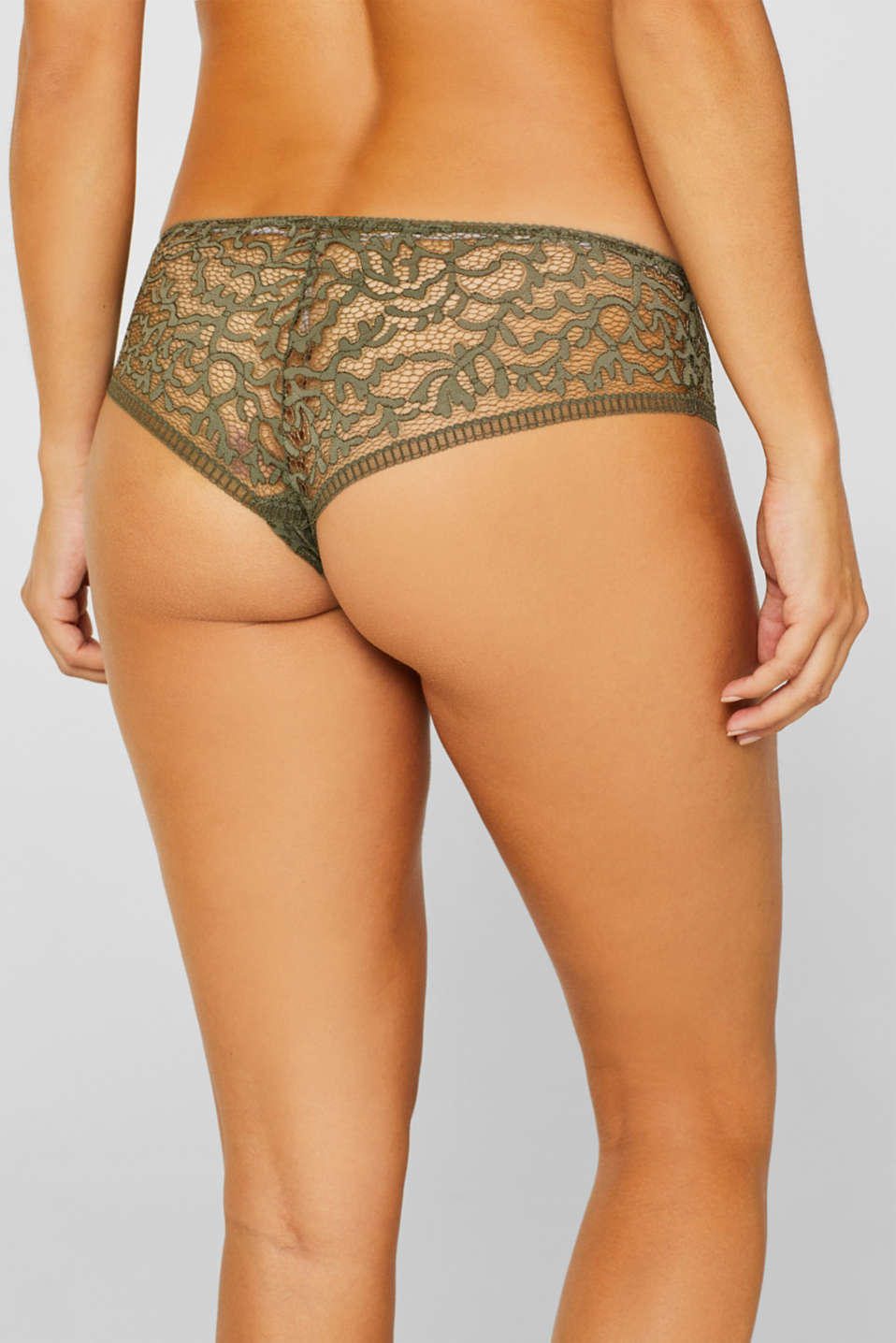Brazilian hipster shorts in geometric lace, OLIVE, detail image number 3