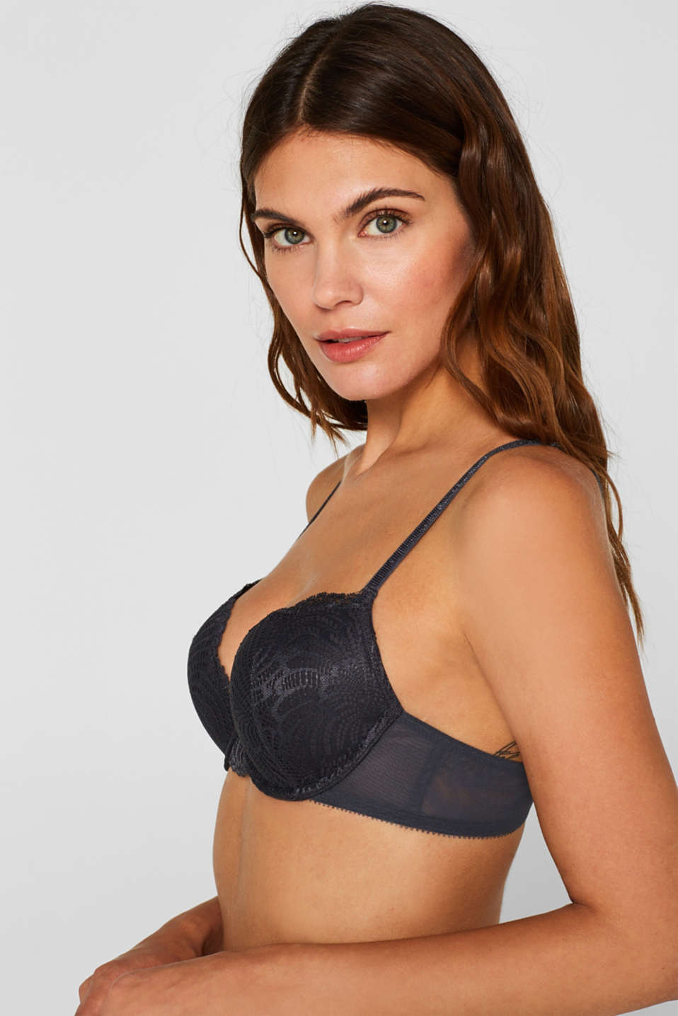 Heavily padded push-up bra made of lace, ANTHRACITE, detail image number 2