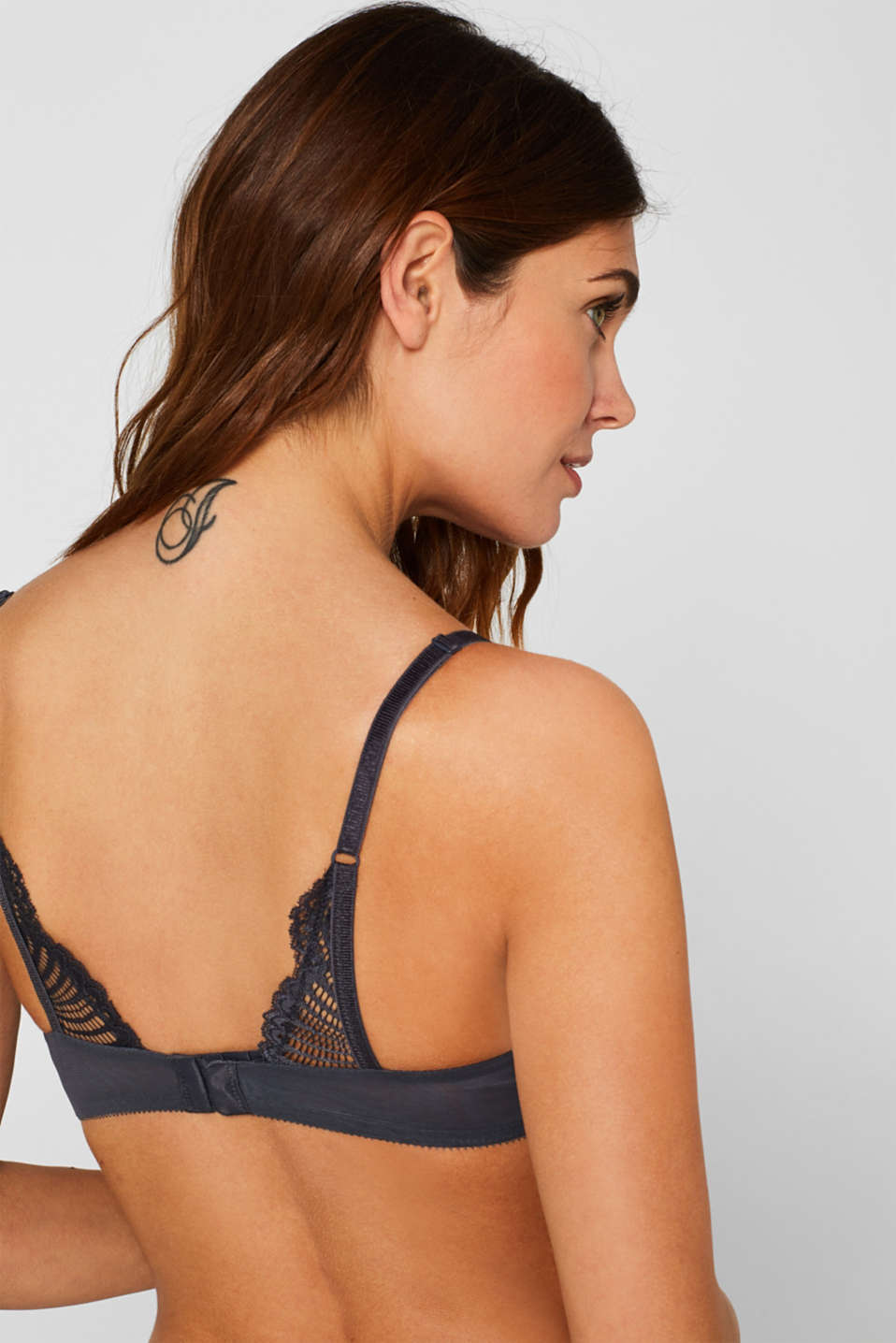 Heavily padded push-up bra made of lace, ANTHRACITE, detail image number 3