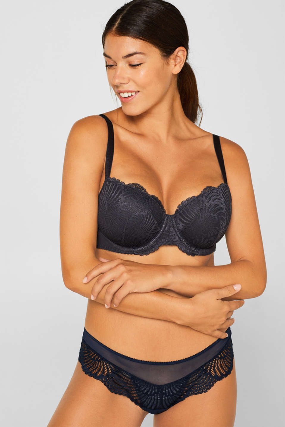 Padded, underwire bra for large cup sizes, ANTHRACITE, detail image number 0