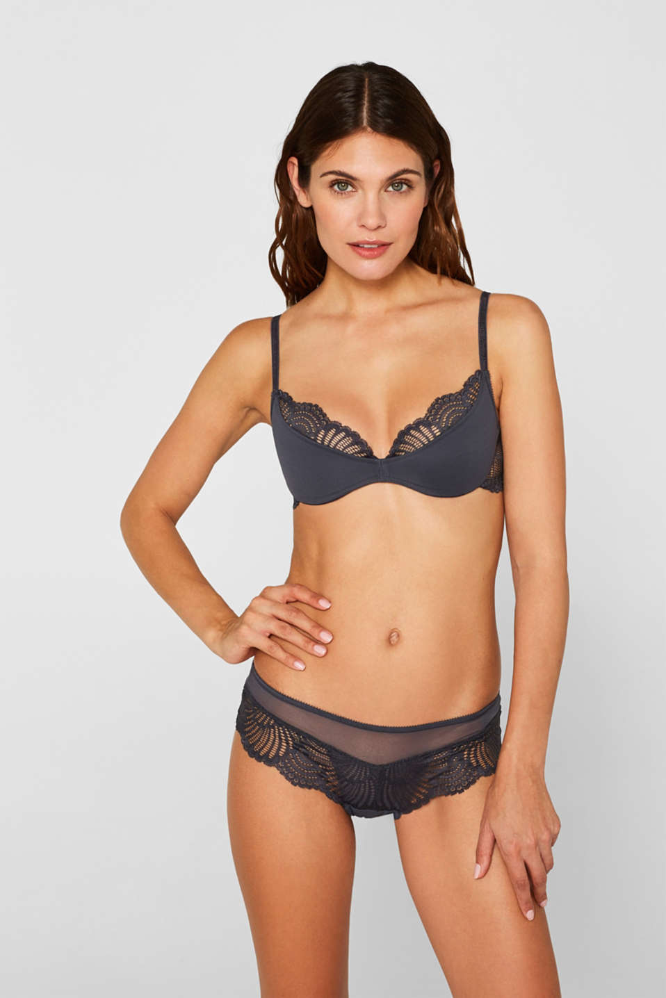 Half-padded underwire bra with lace, ANTHRACITE, detail image number 0