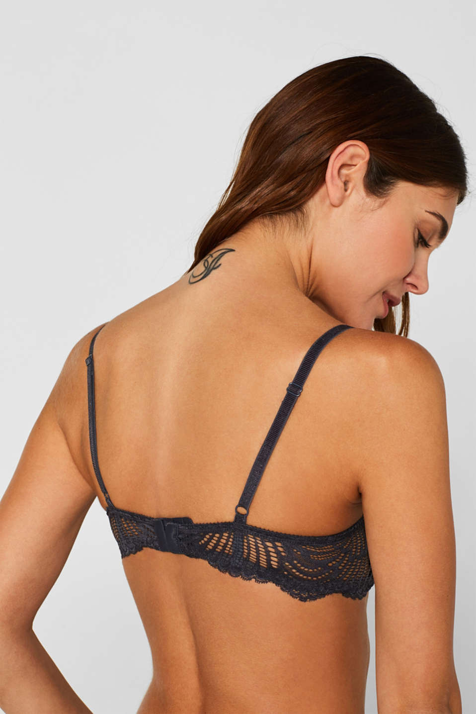 Half-padded underwire bra with lace, ANTHRACITE, detail image number 2