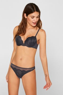 Mesh + lace Brazilian hipster thong, ANTHRACITE, detail