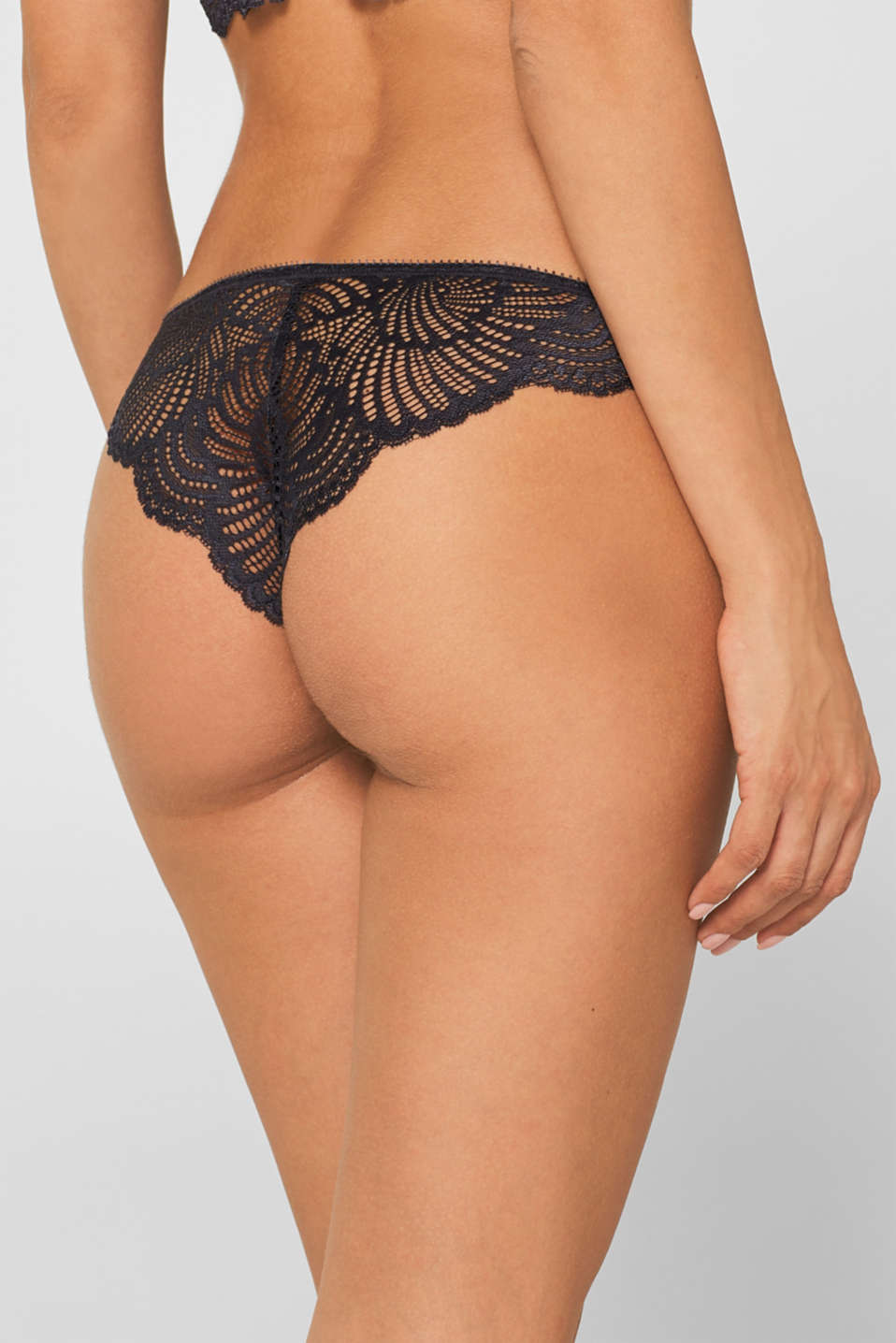 Brazilian hipster briefs in mesh and lace, ANTHRACITE, detail image number 1