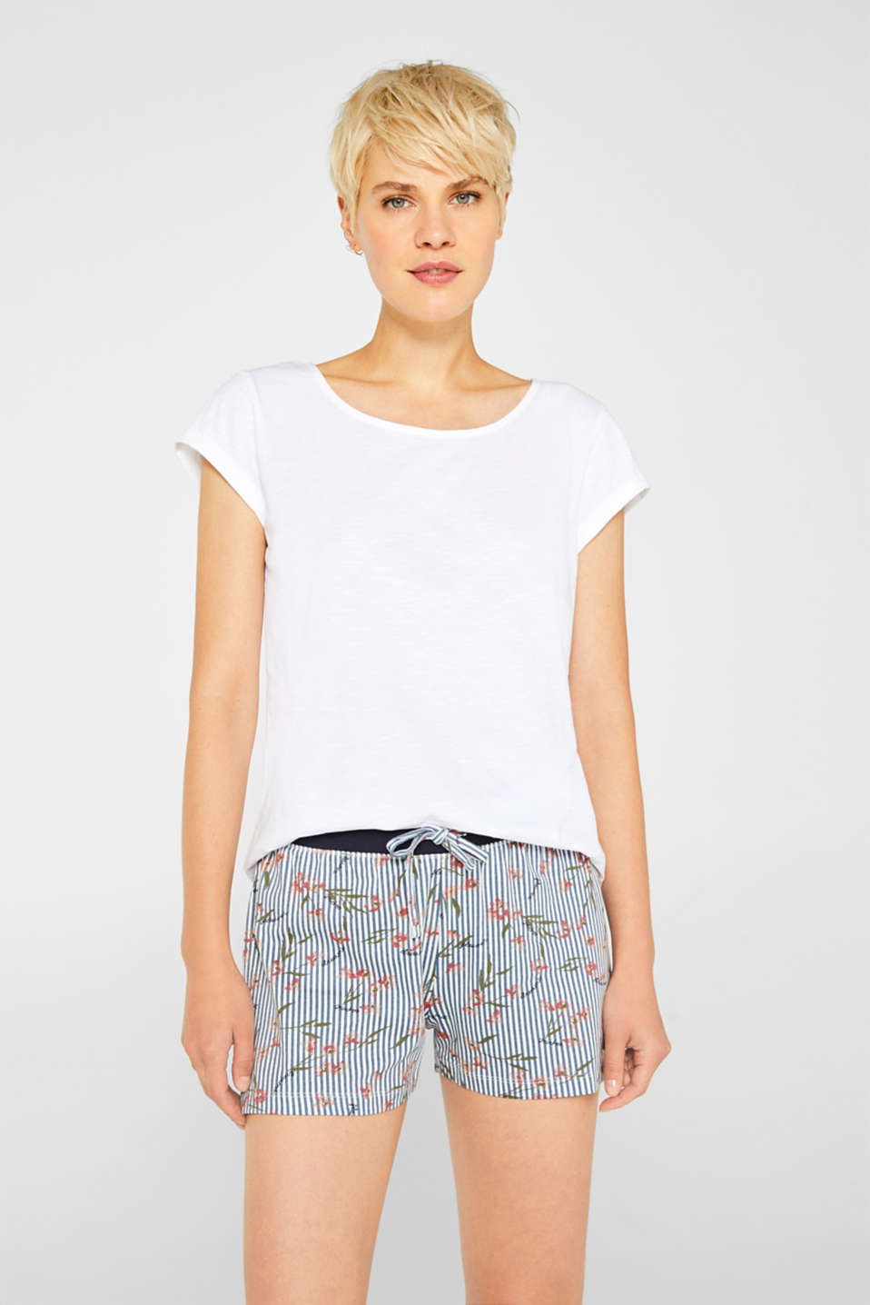 Esprit - Pyjama shorts with a stripe print, 100% cotton