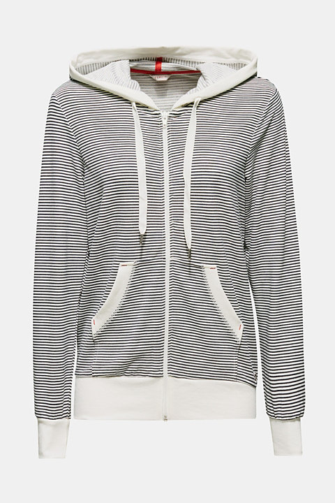 Stretch jersey cardigan with a hood