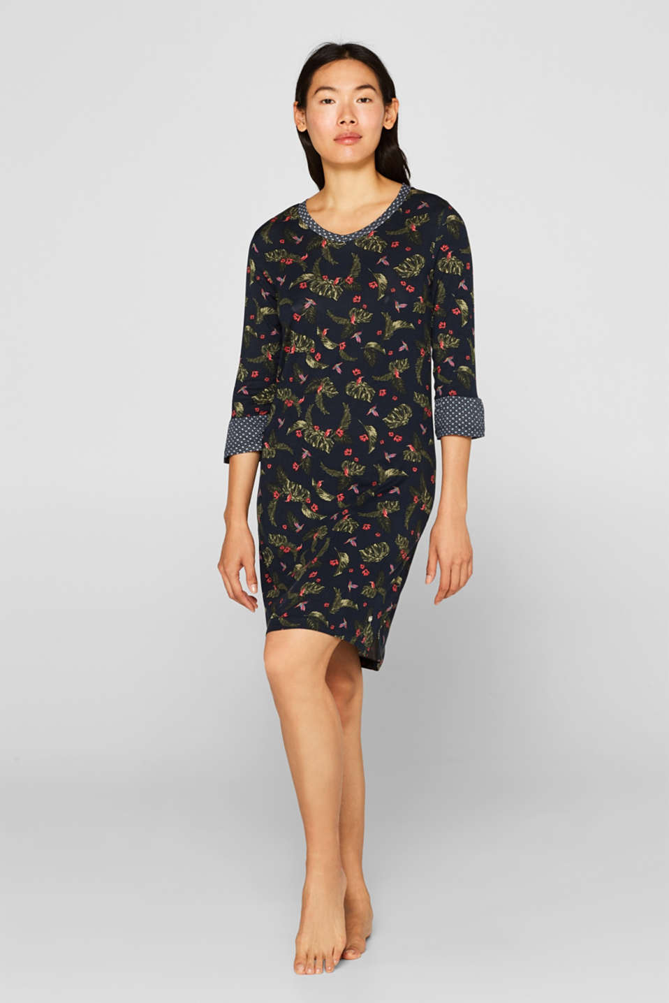 Esprit - Stretch jersey nightshirt with a print