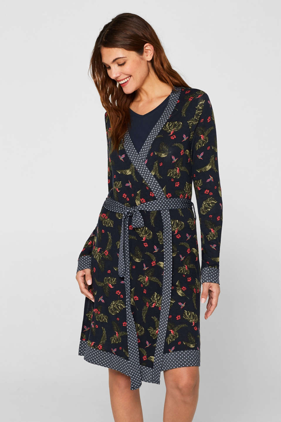Pattern mix stretch jersey kimono, NAVY, detail image number 1
