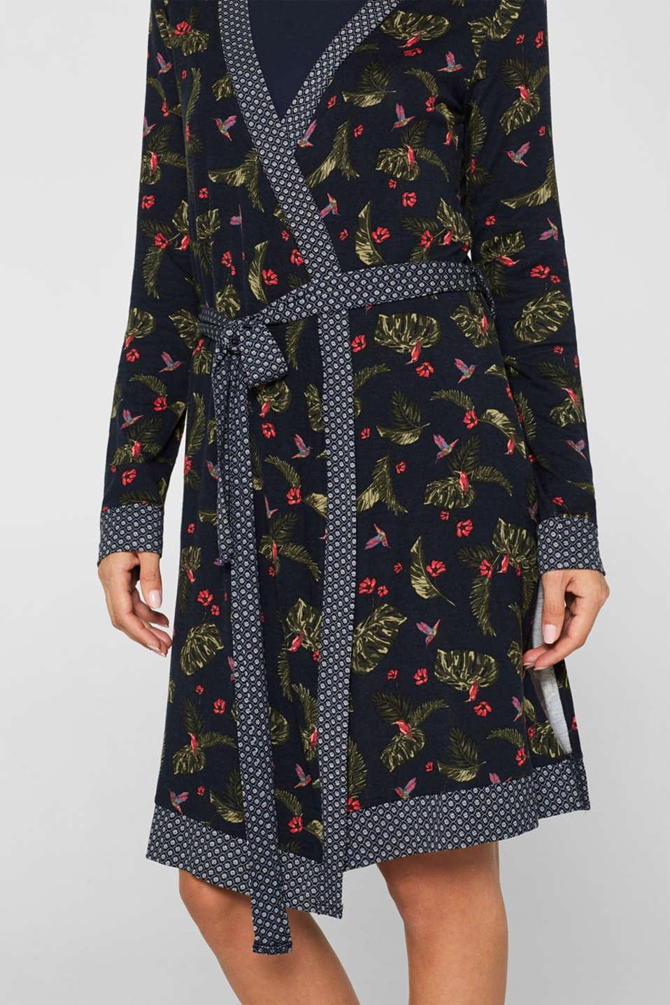 Pattern mix stretch jersey kimono, NAVY, detail image number 3