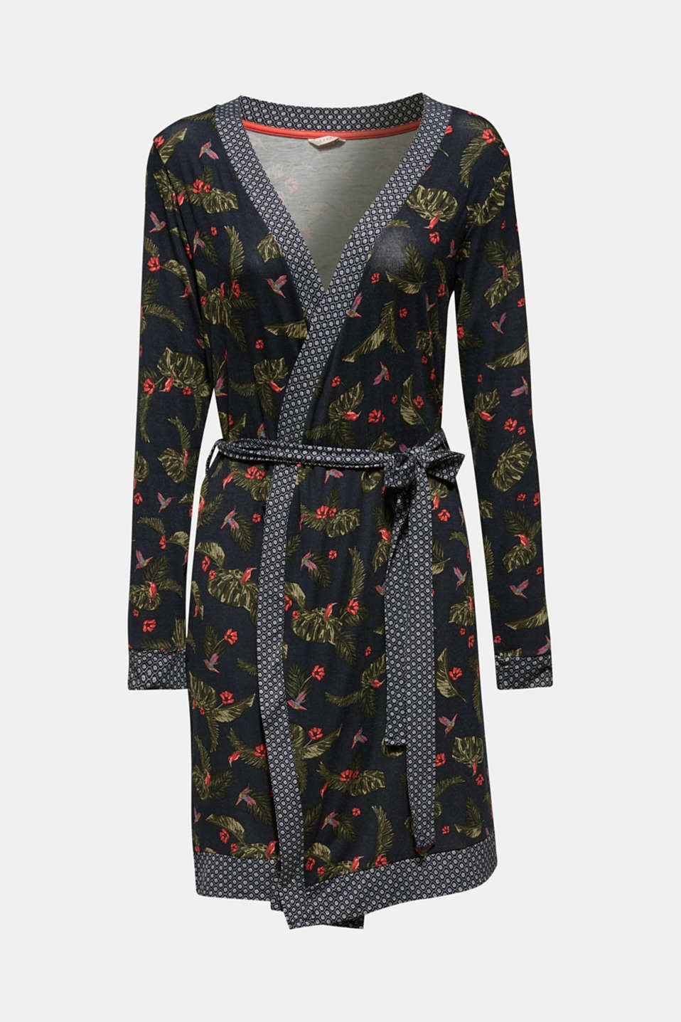 Pattern mix stretch jersey kimono, NAVY, detail image number 5