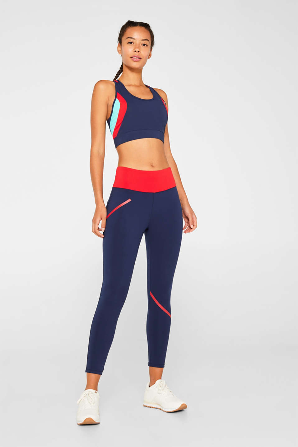 Esprit - Active leggings with stripes, E-DRY