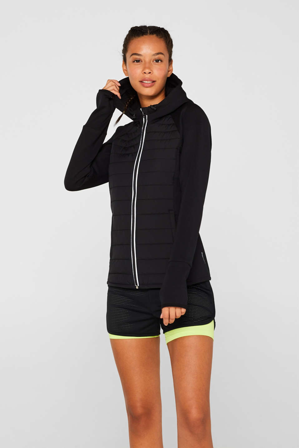 Hooded jacket in a mix of materials, BLACK, detail image number 0