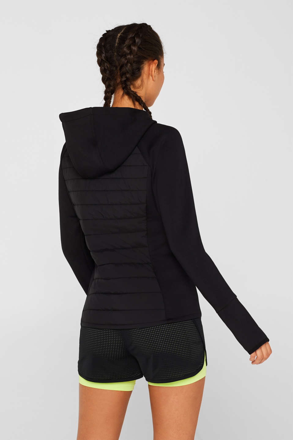 Hooded jacket in a mix of materials, BLACK, detail image number 3