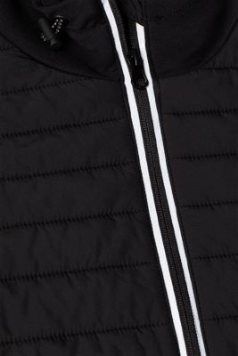 Hooded jacket in a mix of materials, BLACK, detail