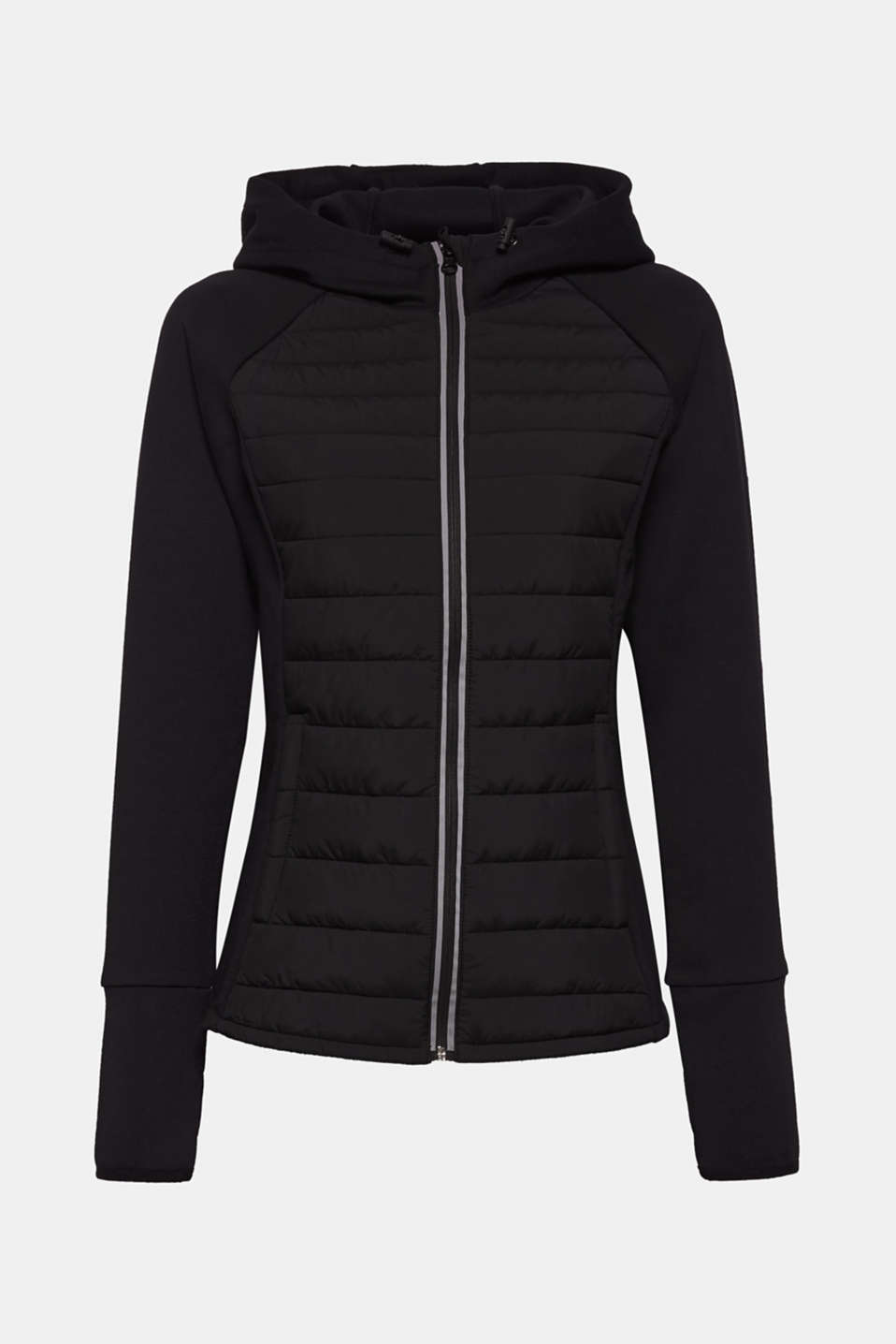 Hooded jacket in a mix of materials, BLACK, detail image number 6