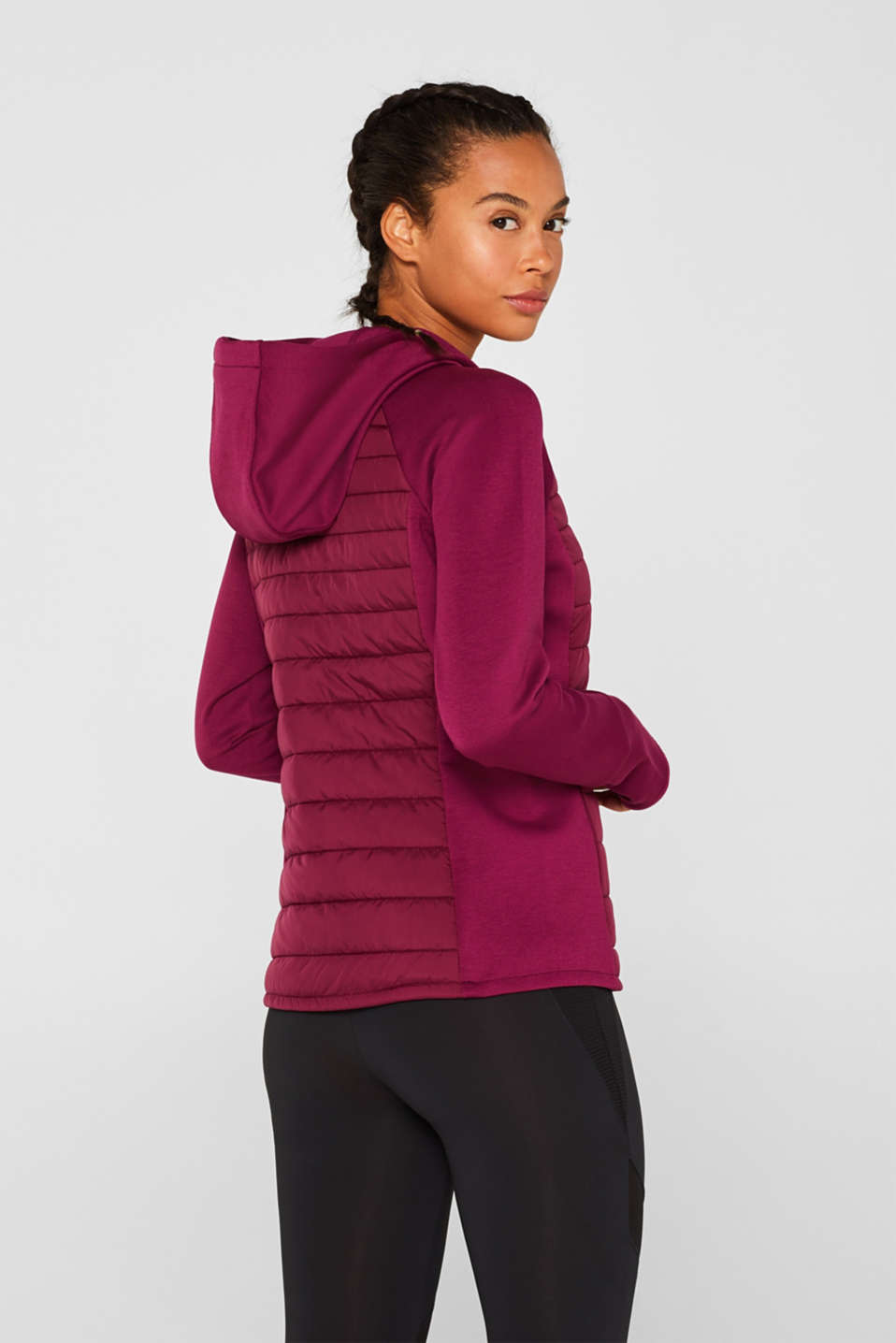 Hooded jacket in a mix of materials, DARK PINK, detail image number 3
