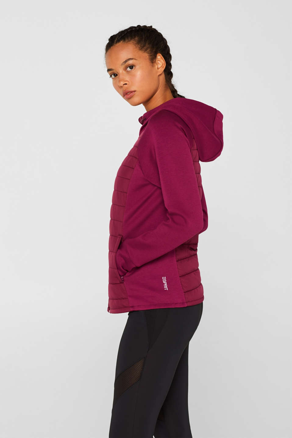 Hooded jacket in a mix of materials, DARK PINK, detail image number 5
