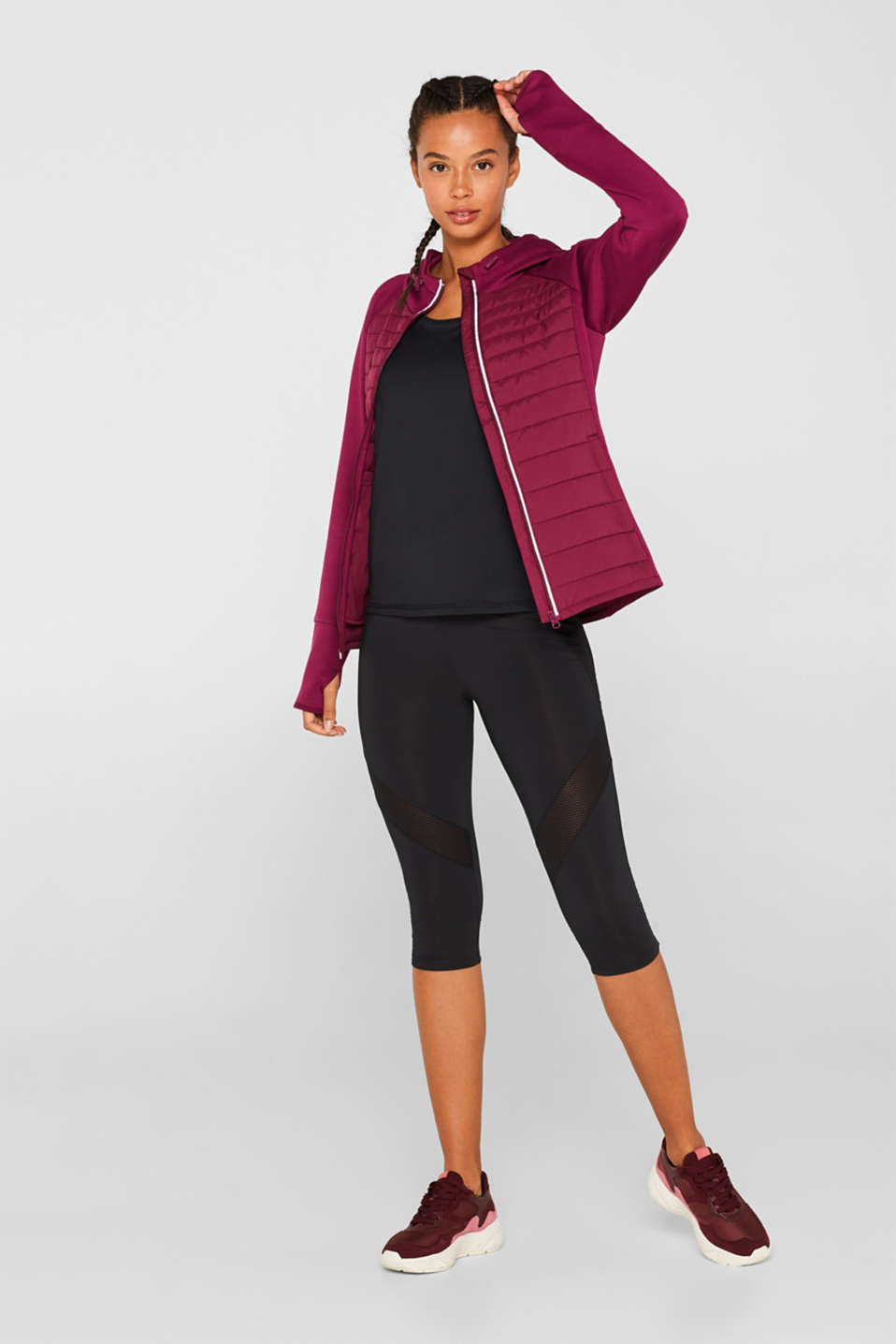 Hooded jacket in a mix of materials, DARK PINK, detail image number 1