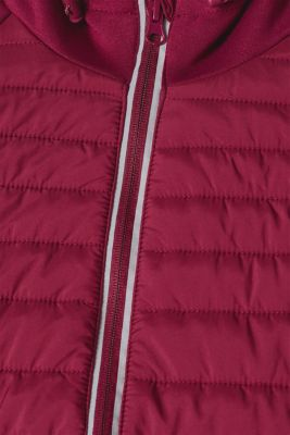 Hooded jacket in a mix of materials, DARK PINK, detail