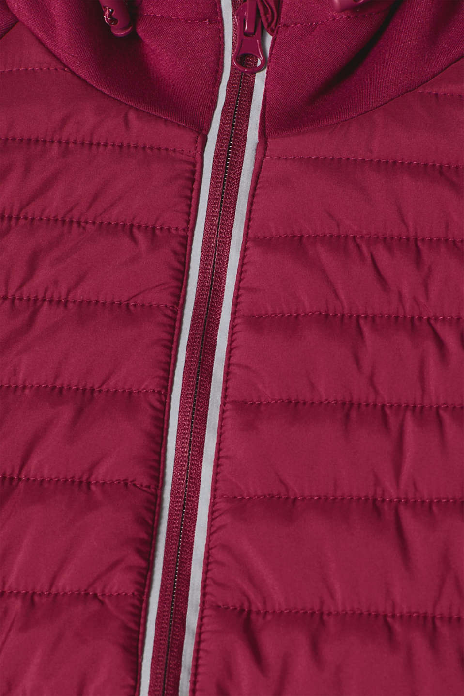Hooded jacket in a mix of materials, DARK PINK, detail image number 4
