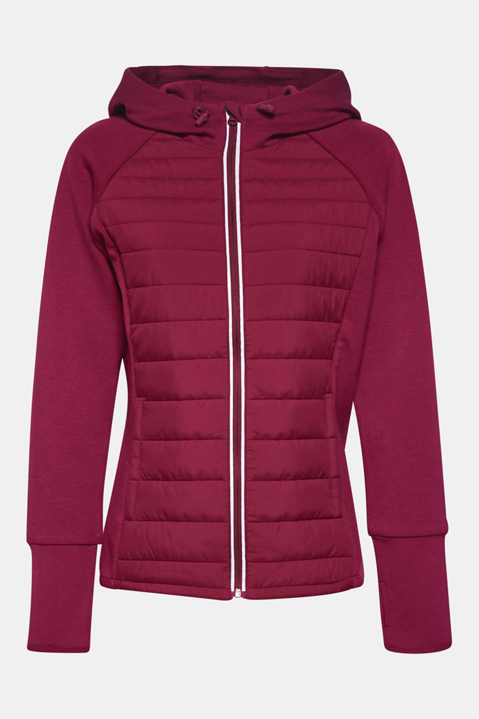 Hooded jacket in a mix of materials, DARK PINK, detail image number 6