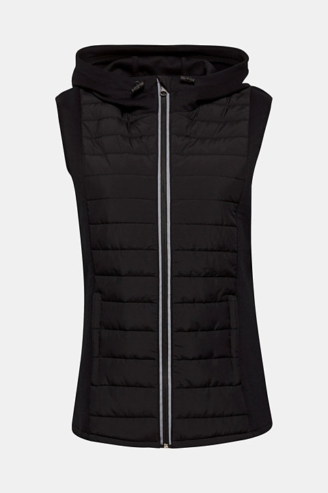 Hooded bodywarmer in a material mix