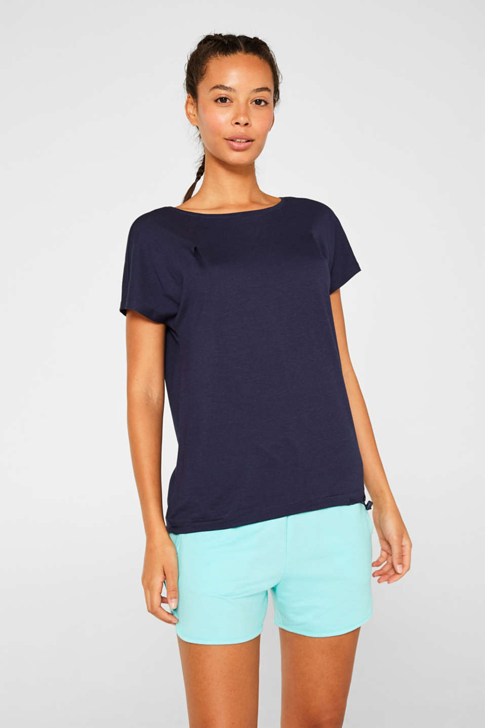 Esprit - T-shirt with a drawstring hem, cotton modal blend