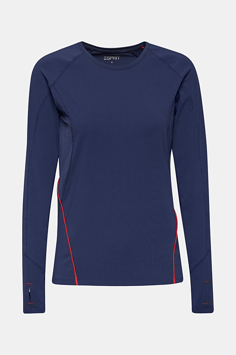 Long sleeve top with mesh inserts, E-DRY