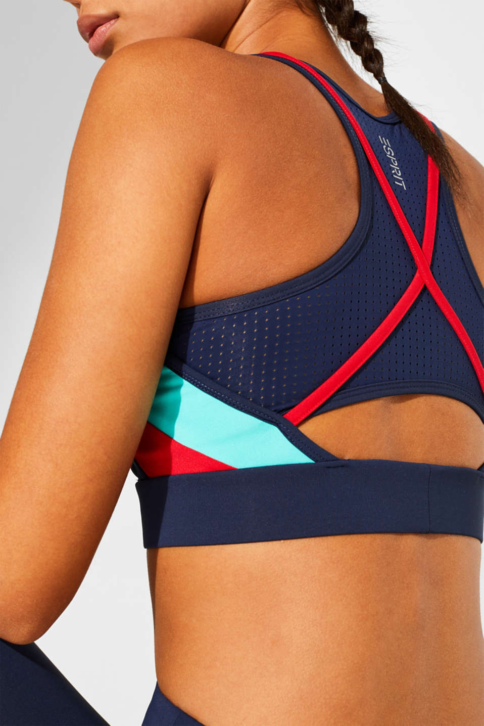 Padded sports crop top with mesh details, E-DRY, NAVY, detail image number 3