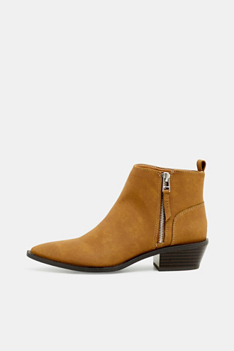 Faux nubuck leather ankle boots
