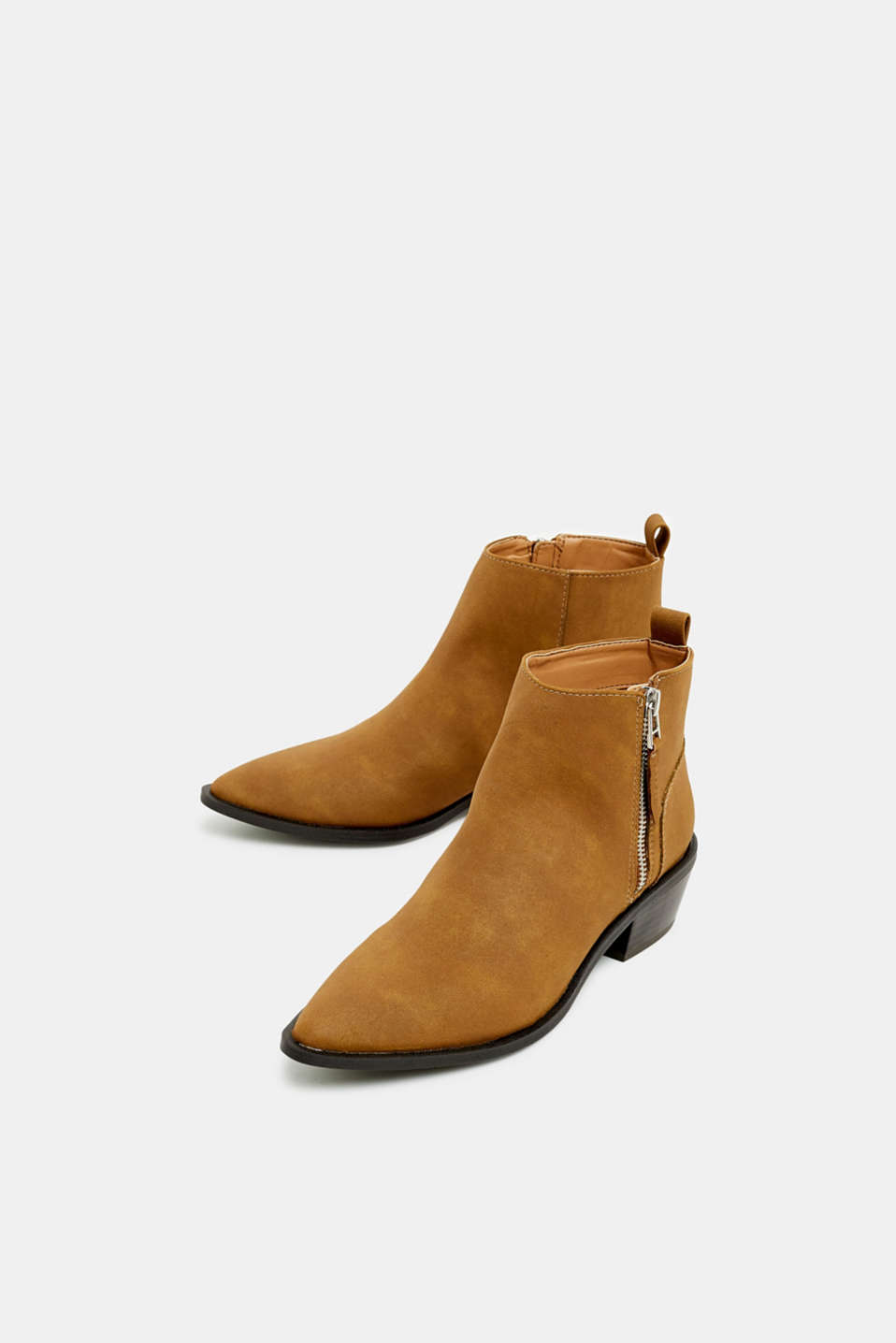 Faux nubuck leather ankle boots, TOFFEE, detail image number 1