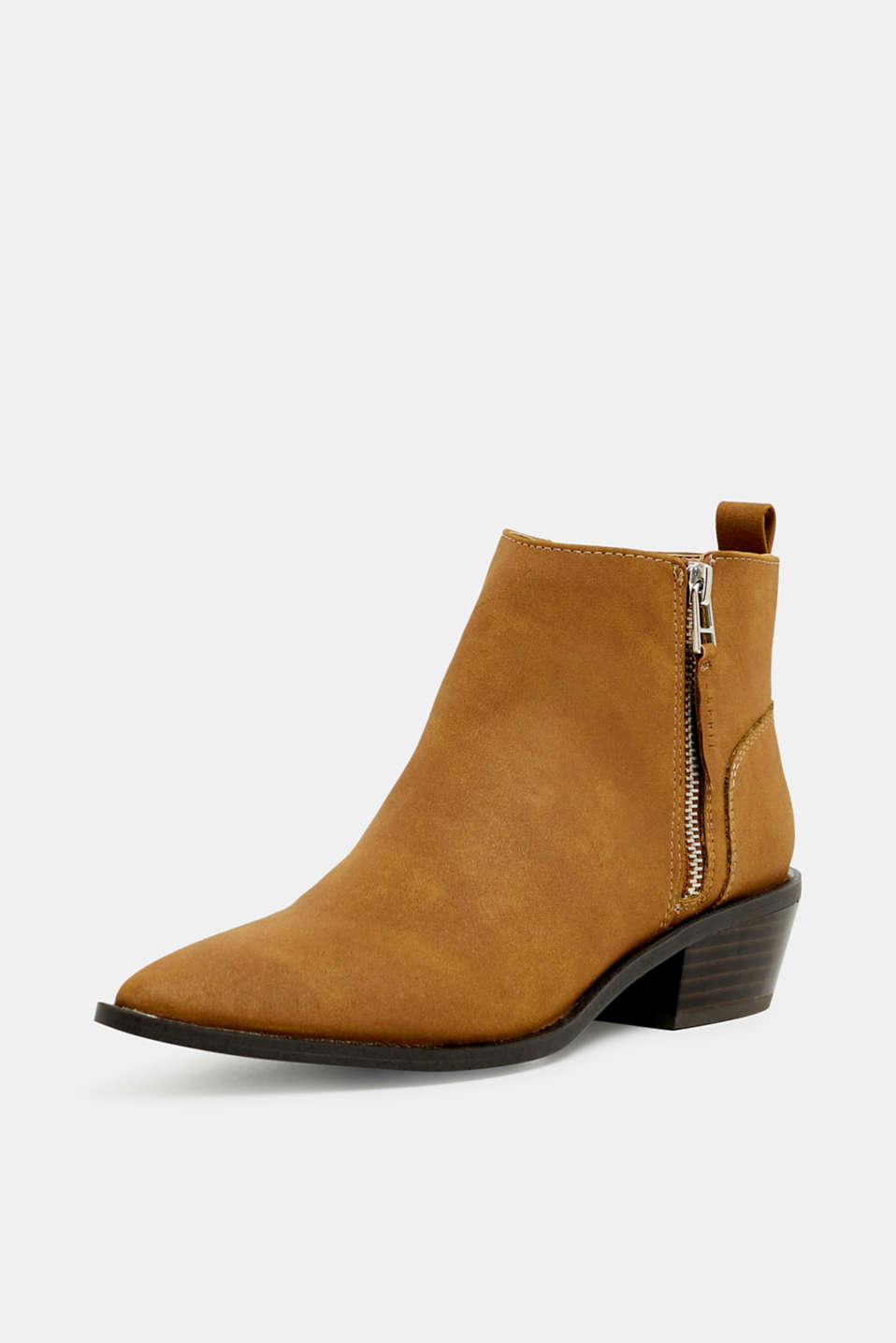 Faux nubuck leather ankle boots, TOFFEE, detail image number 2